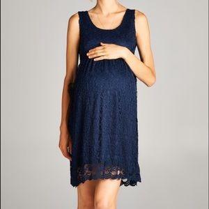 Navy Floral Lace Sleeveless Maternity Dress